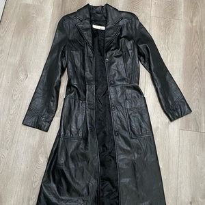💯 Black leather Duster